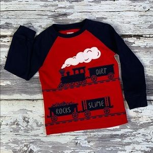 Boy Long Sleeve Red and Navy Gymboree Train Tee 3T